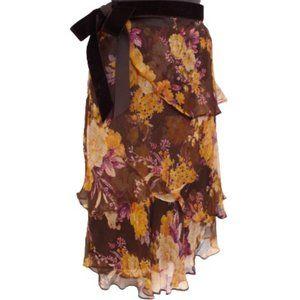 Zara Basic Floral/Ruffle Skirt w/Velvet tie- Sz. S